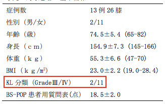 間質血管細胞群による治療成績・対象者データ