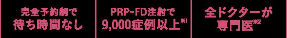 完全予約制で待ち時間なし   PRP-FD注射で9,000症例以上   全ドクターが専門医